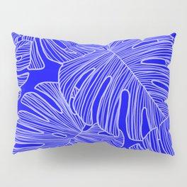 Cobalt Monstera Leaves Pillow Sham