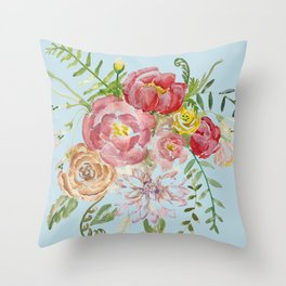 Bouquet of Watercolor on Blue Background Throw Pillow