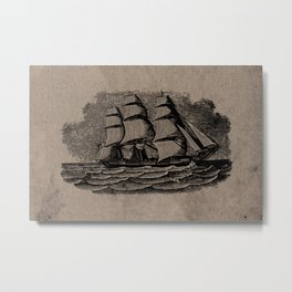 Vintage Sailing Ship - Antique Book Plate Etching - Retro Style Brown and Black Metal Print