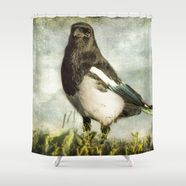 Message from the Magpie Shower Curtain