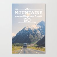 the mountains are calling Canvas Prints featuring The Mountains are Calling by Alisha KP