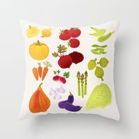 vegetables Throw Pillows featuring Vegetables  by rusanovska