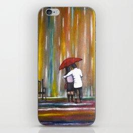 Love in the Rain romantic painting by Manjiri Kanvinde iPhone Skin