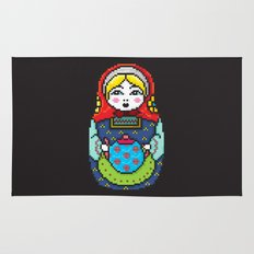 16bit Matrioska Black Background Rug