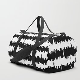 Black and White Stripes NYC Skyline Duffle Bag
