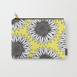 Yellow Sunflower in Black and White Hand Drawing Carry-All Pouch