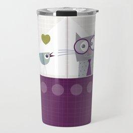 Bird and Cat on board Travel Mug
