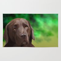 labrador Area & Throw Rugs featuring Chocolate Labrador by Nojjesz