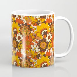 Retro 70s Flower Power, Floral, Orange Brown Yellow Psychedelic Pattern Coffee Mug