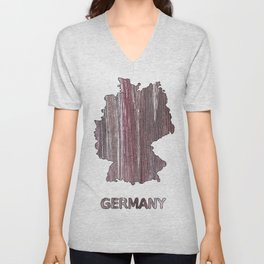 Germany map outline Deep Taupe watercolor Unisex V-Neck