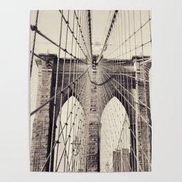 Brooklyn bridge, New York city, black & white photography, wall decoration, home decor, nyc fine art Poster