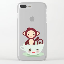 Cute Kawai pink cup with brown monkey Clear iPhone Case