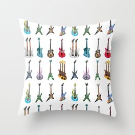 Electric Guitars Watercolor Throw Pillow