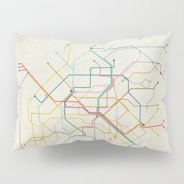 Minimal Paris Subway Map Pillow Sham