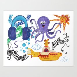 Submarine Tunes Art Print