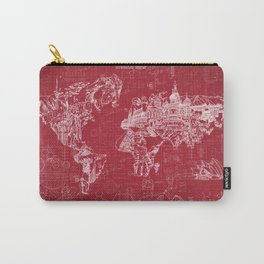 world map red print Carry-All Pouch