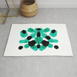 Neon Turquoise & Black Ink Blot Pattern Rug