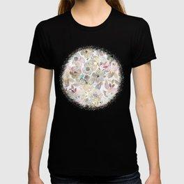 Elegant whimsical grey watercolor roses T-shirt