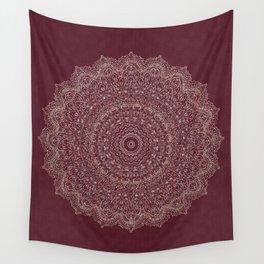 Rose Gold Marble Mandala Burgundy Textured Wall Tapestry