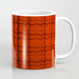 jagged grid, black on red Coffee Mug