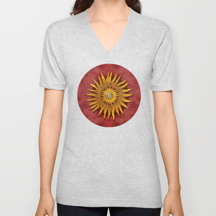 """""""Aztec Sun and pickled coral"""" Unisex V-Neck"""