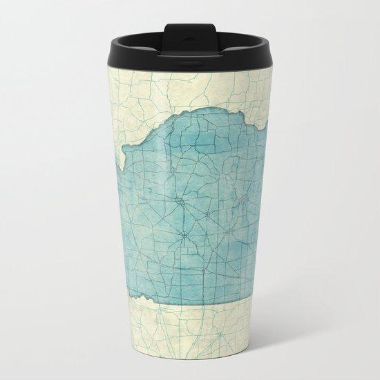 Illinois State Map Blue Vintage Metal Travel Mug