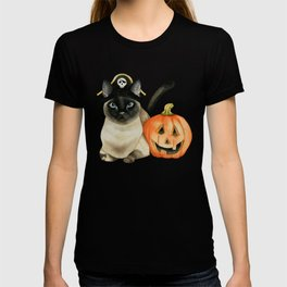 Halloween Siamese Cat with Jack O' Lantern T-shirt
