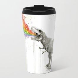 T-Rex Dinosaur Rainbow Puke Taste the Rainbow Watercolor Travel Mug