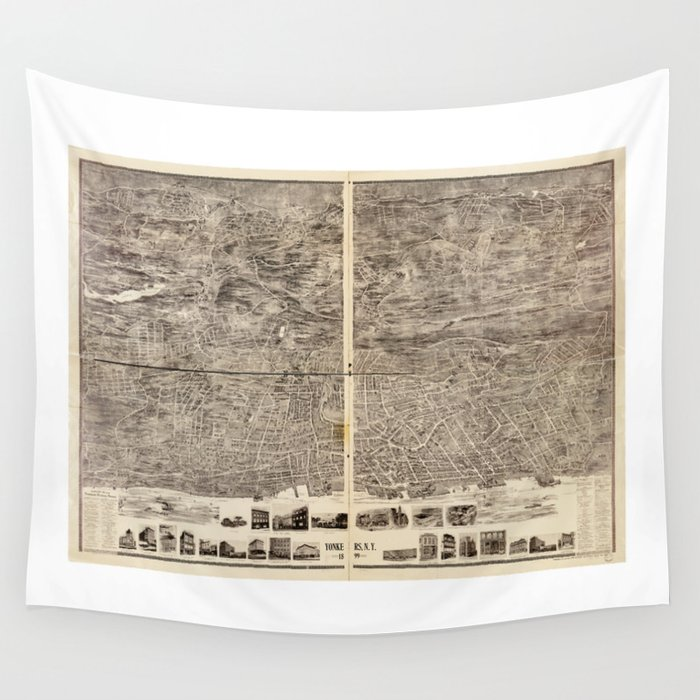 Aerial View of Yonkers, New York (1899) Wall Tapestry