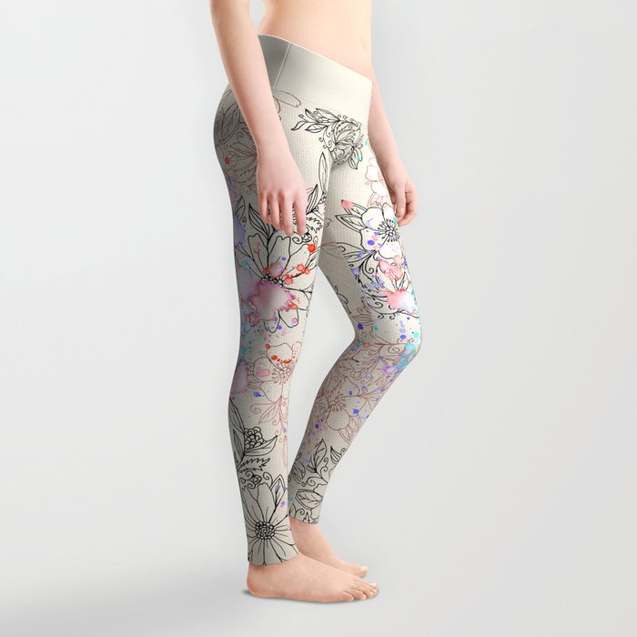 Modern vintage black rose gold watercolor floral Leggings