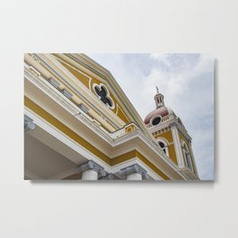 Looking up at the Exterior of the Yellow Granada Cathedral in Downtown Granada, Nicaragua Metal Print