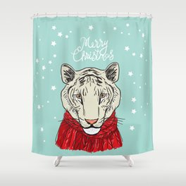 Merry Christmas New Year's card design Tiger head in a red knitted sweater and a scarf. Sketch Shower Curtain