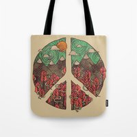 landscape Tote Bags featuring Peaceful Landscape by Hector Mansilla