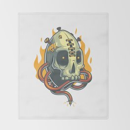 Skull Fire Throw Blanket