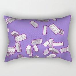 Falling Objects: Little Bricks on Purple Rectangular Pillow