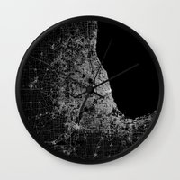 chicago map Wall Clocks featuring Chicago map by Line Line Lines