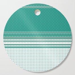 Teal Poka Dot Multi Pattern Design Cutting Board