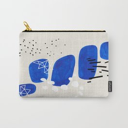 Fun Mid Century Modern Abstract Minimalist Phthalo Blue Stacked Pebbles Indigenous Art Carry-All Pouch
