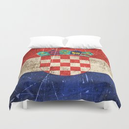 Vintage Aged and Scratched Croatian Flag Duvet Cover