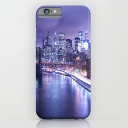 New York City Night Lights : Periwinkle Blue iPhone Case