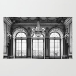 Giant French castle windows antique Paris ballroom hall and chandelier baroque wall mural background Rug