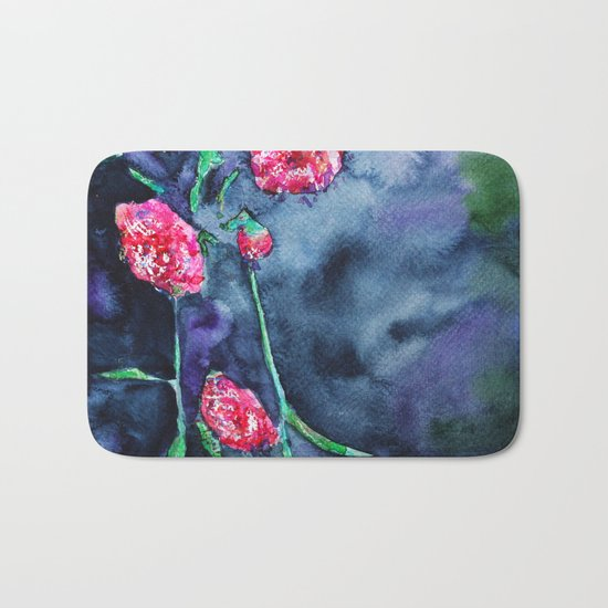 Flowers of the night || watercolor Bath Mat