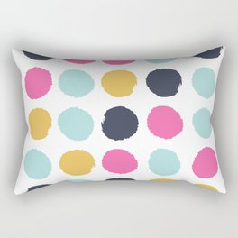 Polka dots abstract minimalist bright happy positive art painting painterly dots Rectangular Pillow