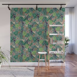 Jungle birds and flowers Wall Mural
