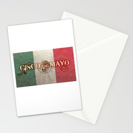 Cinco De Mayo Mexican Flag Independence Distressed T Shirt. Stationery Cards