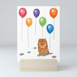 Pomeranian with balloons Mini Art Print