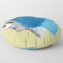 Virginia Woolf portrait green blue Floor Pillow