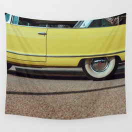 Retro yellow car Wall Tapestry