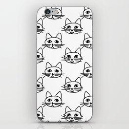 Cats I - Black on White iPhone Skin