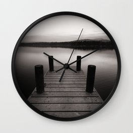 Wooden jetty on lake Windermere Wall Clock